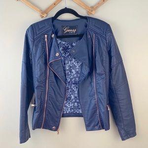 Guess vegan leather moto jacket navy blue